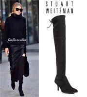 NIB Stuart Weitzman Tiemodel Black Suede Over-the-Knee Boots Size 9
