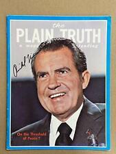 Richard Nixon Signed Magazine The Plain Truth President Autograph