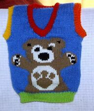 CHARLEY BEAR VEST NEW HAND KNITTED SIZE 6-12 MONTHS