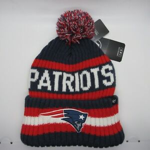 New England Patriots NFL Authentic 47 Navy Bering Cuff Knit Hat With Pom