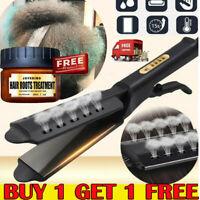 Professional Steam Style Hair Straightener Argan Oil Vapor Titanium Flat Iron