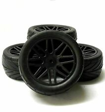 A66106/116 1/10 Silck On Road Front Rear Buggy RC Wheels Tyres 16 Spoke Black