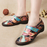 SOCOFY Women Causal Genuine Leather Splicing Shoes Jacquard Low Heel Soft Pumps