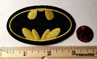 "Batman EMBROIDERED PATCH*BLACK BAT*YELLOW*IRON OR SEW ON*NEW 3.25""x2"""
