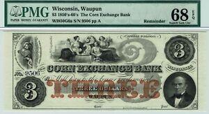 Wisconsin $3 Corn Exchange Bank PMG 68 EPQ SUPERB GEM Uncirculated. Trophy note.