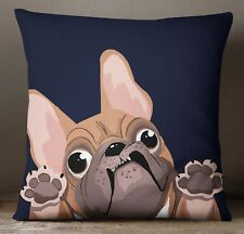 S4Sassy Home Decorative Brown Bull Dog Printed Square Cushion Cover