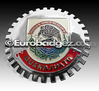 1- NEW Chrome Front Grill Badge Mexican Flag Spanish MEXICO MEDALLION GUANAJUATO