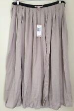 Women's Skirt PHILOSOPHY TAUPE BEIGE Silky Pleated Sheer Full Slit Shimmery 6