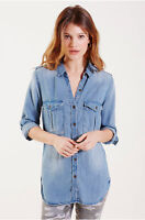 True Religion Women's Long Sleeve Military Denim Button Down Shirt in Indigo