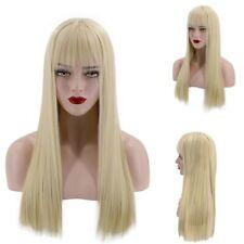 63cm Fashion Sexy Long Light Blonde Straight Hair Wig Cosplay Wig w/ Bangs