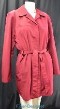 London Fog knee Trench Rain Coat Jacket belt zip up brick red women SZ M VTG NEW