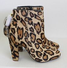 Zip Leather Animal Print Ankle Boots for Women