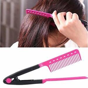 Pink Fashion V Type Hair Straightener Comb DIY Salon Hairdressing Styling Tool