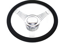 """Chrome Banjo Billet Aluminum 14"""" Steering Wheel Kit W/ Horn Button & Adapter"""
