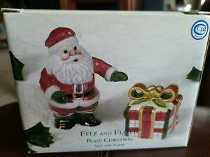 FITZ & FLOYD Santa Clause & Present Salt and Pepper Shakers Holiday Christmas
