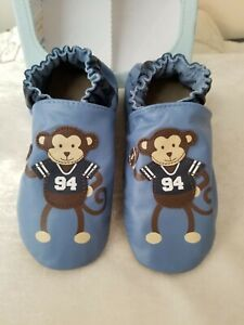 Robeez Shoes Football Monkey Ocean Blue sz 2-3, 3-4, 4-5 and 5-6 years