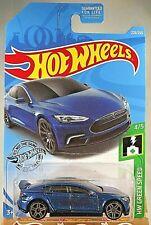 2019 Hot Wheels #226 HW Green Speed 4/5 TESLA MODEL S Blue w/Gray Pr5 Spoke~NIP