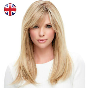 Womens Golden Blonde Long Straight Hair Wigs Natural Daily Smooth Wig with Bangs