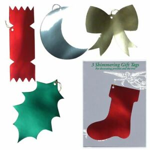 75 Shimmering Christmas Gift Tags in Cello Packets of 3 (EW)