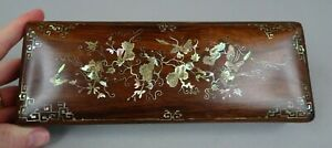 Nice Antique Chinese Hard Wood & Mother Of Pearl Inlays Box 19th C.