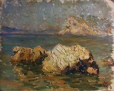 Peinture huile  marine un coin de mediterranée