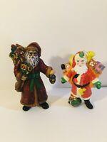2 Vintage Hard Plastic Santa Claus Christmas Tree Ornaments Made In Hong Kong