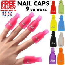 10 X Plastic Nail Soak Off UV Gel Art Polish Remover Wrap Colour Clip Cap UK