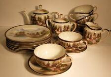 Service à thé porcelaine fine chinoise avec Geisha en fond de tasse,6 tasses et