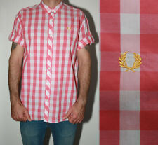 Men's Fred Perry pink-white check short sleeve shirt Large - Worn once