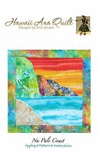 Na Pali Coast Mountains Sandy Beach Applique Quilt Pattern Hawaii Ocean Cliffs