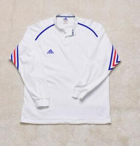 Vintage 90s OG Adidas White Grandad Collar Rugby Top Size XL