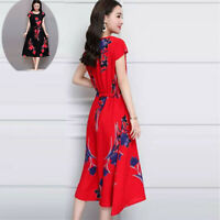 Long Dress Womens Printed Slim Casual Dress Fashion Short sleeve A-Line  O-Neck