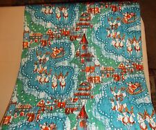 VTG CHRISTMAS EVE STORE WRAPPING PAPER GIFT WRAP 2 YARDS SANTA REINDEER 1960