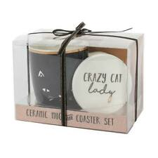 Cat lady Tea coffee mug with coaster boxed set