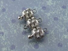 6 Magnetic Clasp Converters - Deco Drum Style - Silver Color - Jewelry Necklace
