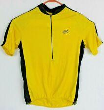 Performance Mens L Yellow Black 1/2 Zip Short Sleeve Cycling Shirt Pockets EUC