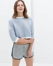 Zara Crew Neck Cropped Casual Tops & Shirts for Women