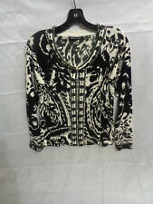 Michael Simon Women's Black/White Beaded Blouse Top Size M Medium