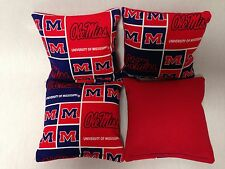 OLE MISS UNV OF MISSISSIPPI 4 CORNHOLE BAGS Print Fronts W/Duck Backs BLK