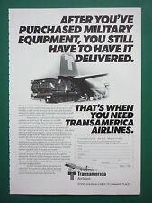 1/1983 PUB TRANSAMERICA AIRLINES SUPER HERCULES BOEING MLRS ORIGINAL AD