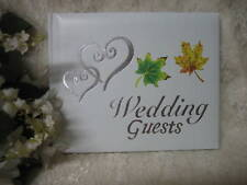Wedding Supplies Ceremony Party ~Fall Leaves~ Guest Book Silver Hearts