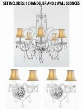 3pc Lighting Set - Crystal Chandelier and 2 Wall Sconces With White Shades!