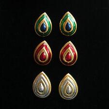 Pear Enamel Costume Earrings