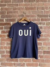 Clare V. Women's T-Shirt, Blue w/Oui Sz Medium