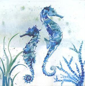 3 x Single Paper Napkins Decoupage Craft Tissue Blue Pair Seahorse Sea Life N569