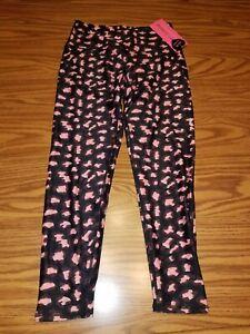 NWT $58 BETSEY JOHNSON WOMEN'S LEGGINGS 7/8 LEGGINGS MERLOT BLACK/PINK