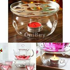 Clear Glass Heat Resisting Round Teapot Warmer Insulation Base Candle Holder