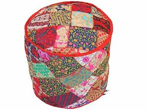 """Bohemian Round Pouf Footstool Cover Embroidered Floor Seat Ottoman Slipcover 18"""""""