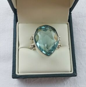 Sterling Silver Faceted Blue Glass Statement Ring, Size J