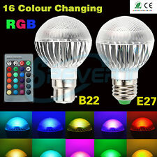 E27 5W RGB LED Spotlight Bulb Dimmable 16 Colour Changing 85-265V+Remote Control